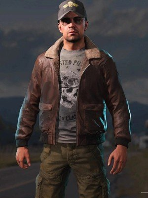Far Cry Aviator Brown Leather Jacket