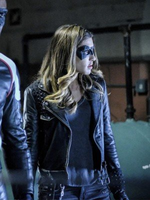 Arrow Juliana Harkavy Blue Leather Jacket