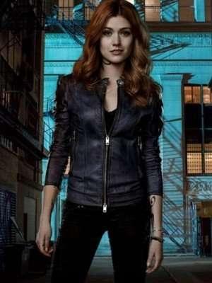 Shadowhunters Katherine McNamara Black Leather Jacket