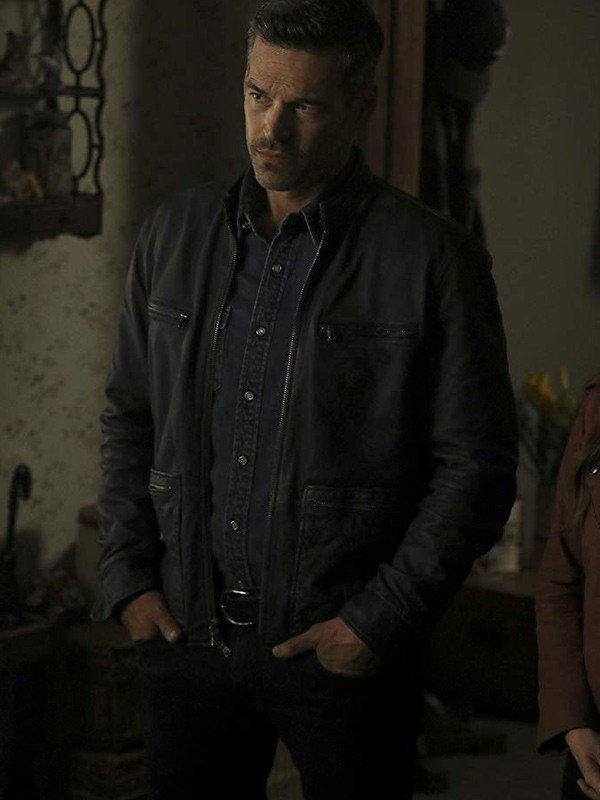 Eddie Cibrian Take Two Eddie Valetik Grey Leather Jacket