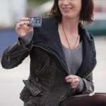 Emily Blunt Arthur Newman Black Distressed Leather Jacket