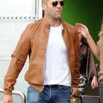 Jason Statham Brown Leather Bomber