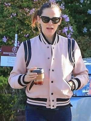 Jennifer Garner Pink Varsity Jacket