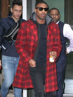 Michael B. Jordan Red Plaid Trench Coat