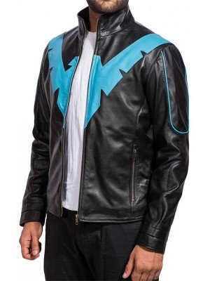 Batman Arkham Knight Nightwing Black Leather Jacket