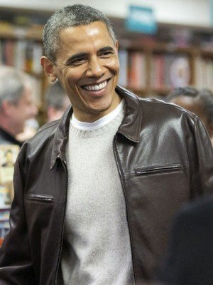 President Barack Obama Brown Leather Jacket
