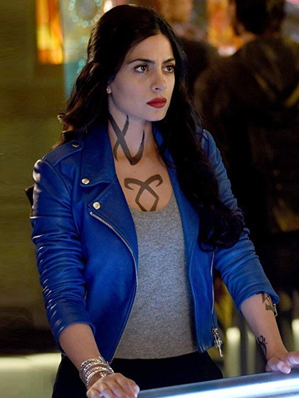 Shadowhunters Isabelle Lightwood Blue Leather Jacket