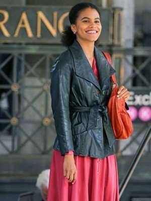 Zazie Beetz Joker Black Leather Coat