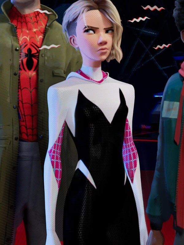 Spider Gwen Black And White Leather Hoodie Jacket
