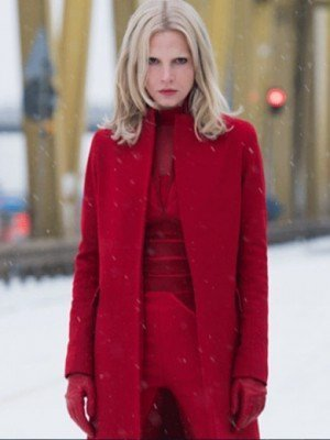 The Girl in the Spider's Web Sylva Hoeks Red Wool Coat