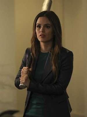 Rachel Bilson Take Two Black Leather Blazer