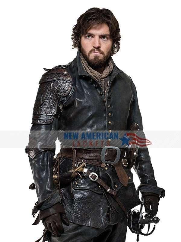 Tom Burke The Musketeers Black Leather Jacket