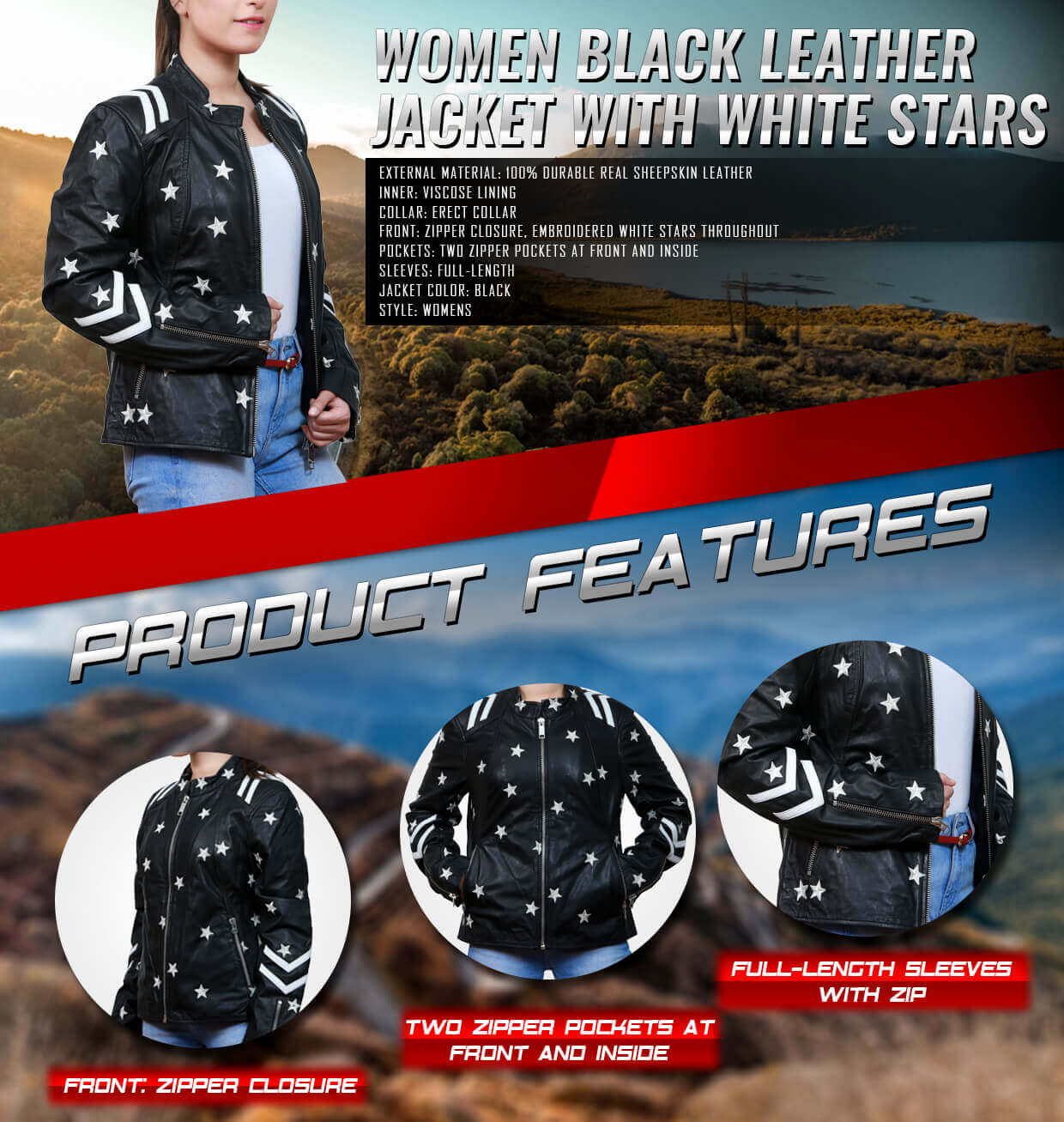 Women's Black Leather Jacket with Embroidered White Stars