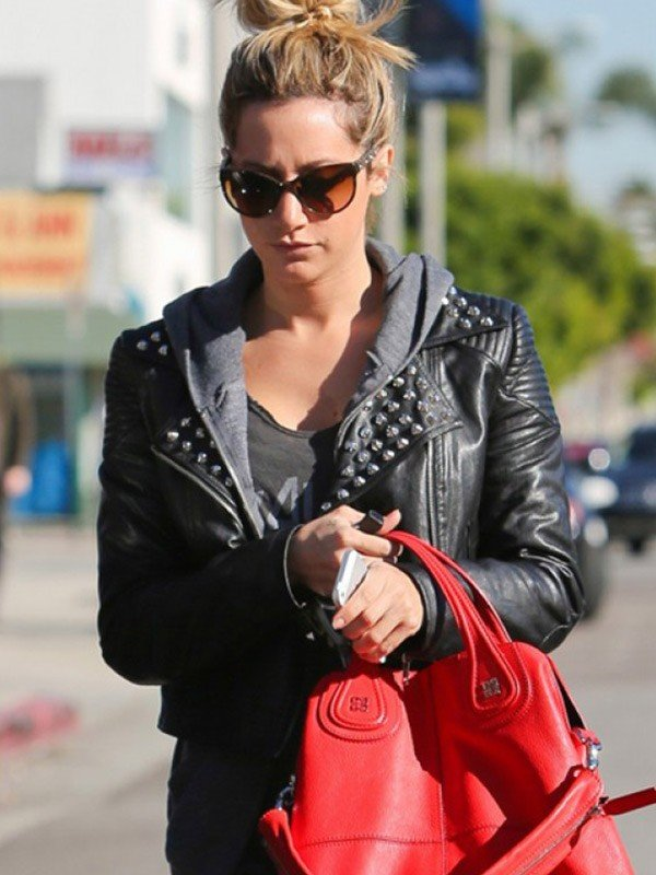 Ashley Tisdale Biker Leather Jacket