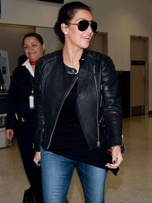 Black Leather Jacket of Kim Kardashian