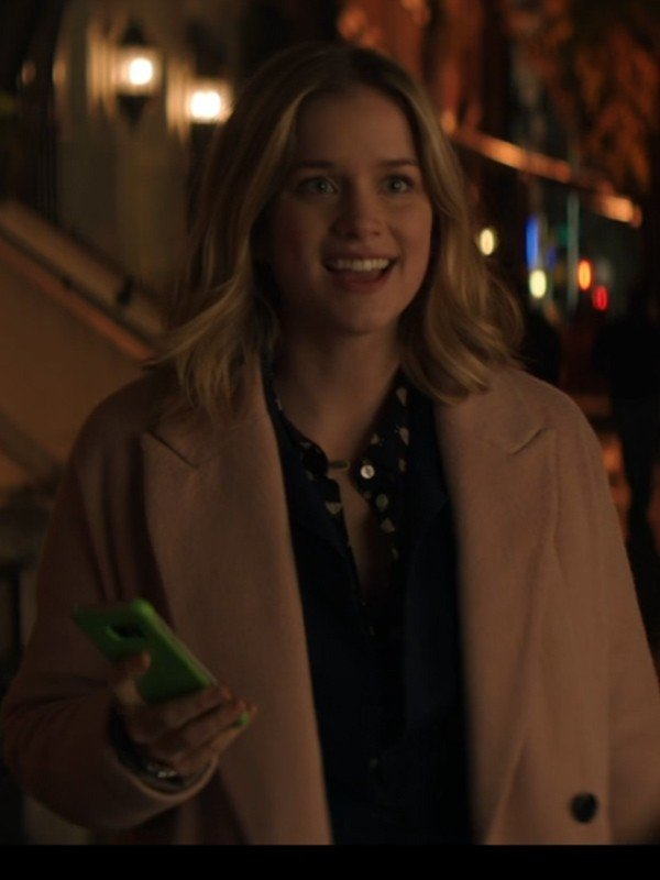 Elizabeth Lail Pale Pink Long Coat You