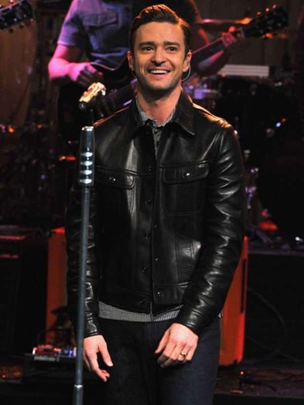 Justin Timberlake Black Stylish Leather Jacket