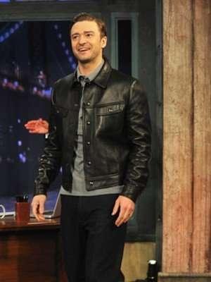 Justin Timberlake Black Leather Jacket