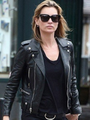 Kate Moss Black Moto Leather Jacket
