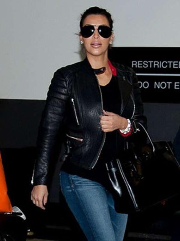 Kim Kardashian Black Leather Jacket