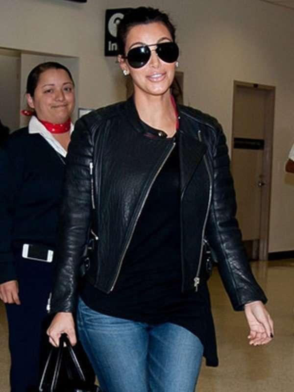 Kim Kardashian Cross Zip Black Jacket
