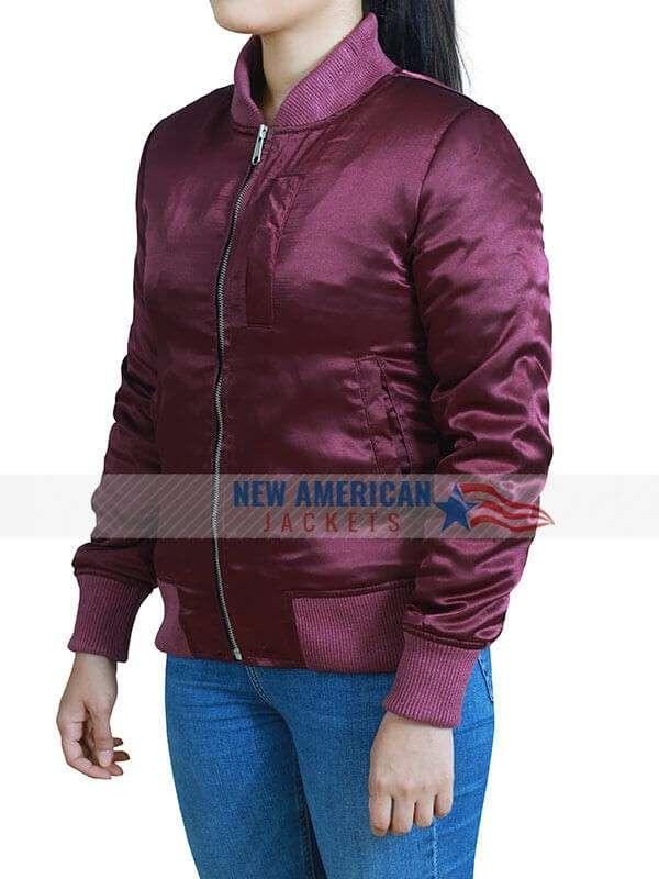 L.A.'s Finest Jessica Alba Maroon Bomber Jacket
