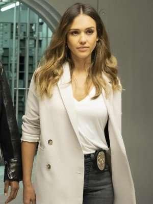 L.A.'s Finest Jessica Alba White Blazer Coat