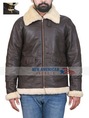 Black Aviator B3 Real Shearling Leather Jacket