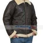 Mens Black B3 Bomber Shearling Leather Jacket