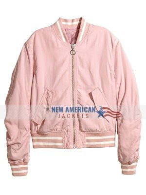 Womens Pink Bomber Jacket