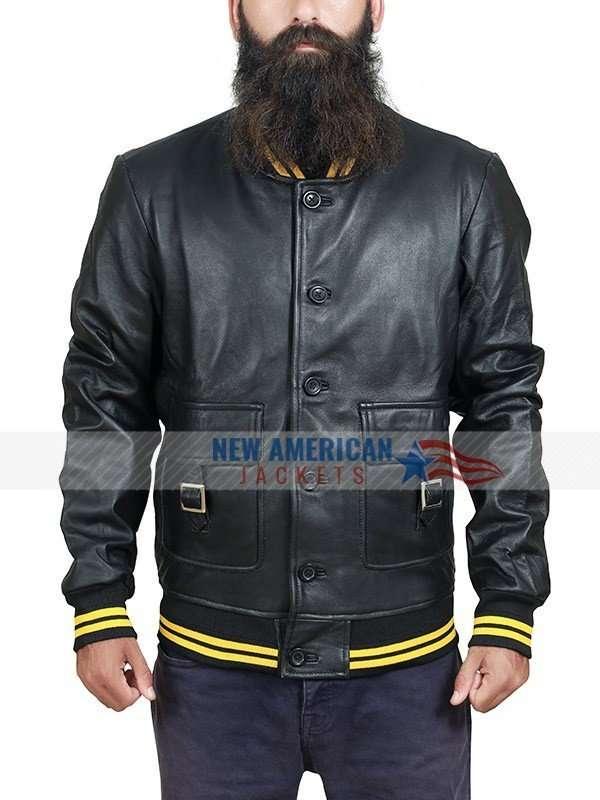 Denzy Ribbed Black Leather Bomber Jacket