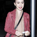 Lilly Collins Motorcycle Pink Leather Jacket