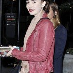 Lilly Collins Pink Jacket