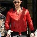 London Nick Jonas Red Leather Jacket