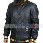 Mens Denzy Ribbed Black Leather Bomber Jacket