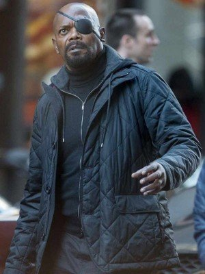 Nick Fury Spider-Man Far From Home Black Quilted Jacket