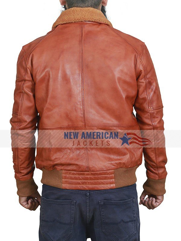 Tan Brown Shearling Leather Jacket