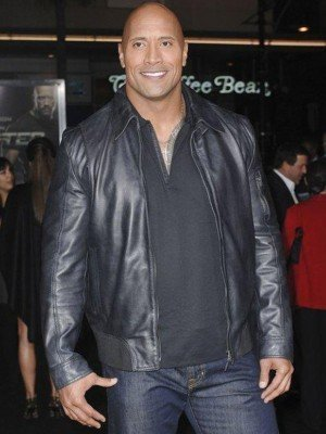 Dwayne Johnson The Rock Black Leather Jacket