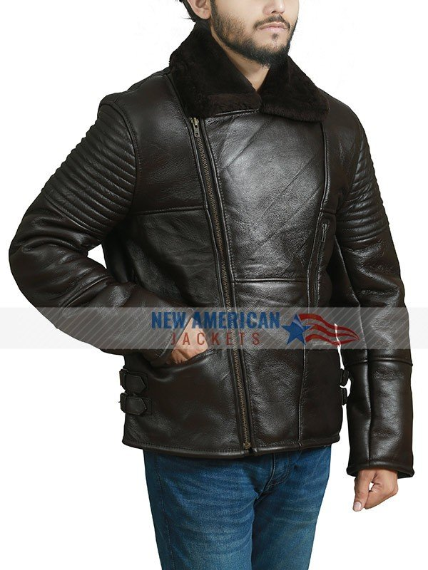 Avaiator Bomber Sheespkin Leather Jacket