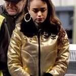 Curfew Faith Palladino Golden Jacket with Fur Collar