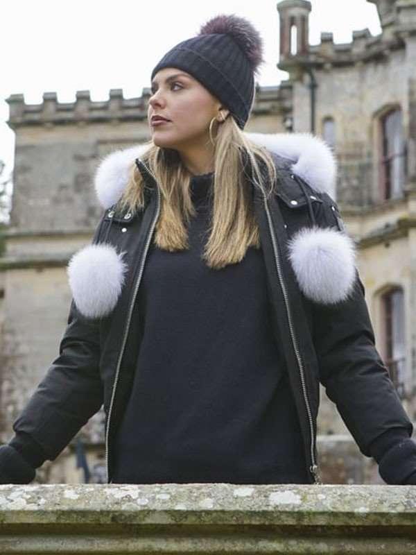 Hannah Brown Black Cotton Jacket with Fur Hood