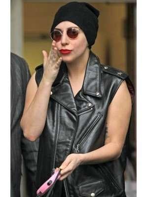 Lady Gaga Black Leather Vest