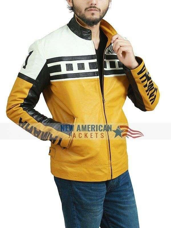 Yamaha Yellow Motorbike Racing Leather Jacket