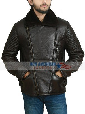 Avaiator Bomber Sheespkin Leather Jacket