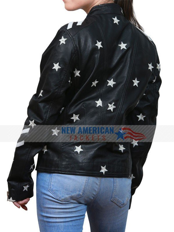 black jacket with white stars
