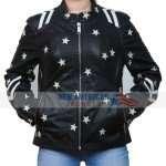 black leather jacket with white stars