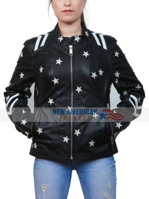 women leather jacket with stars patches