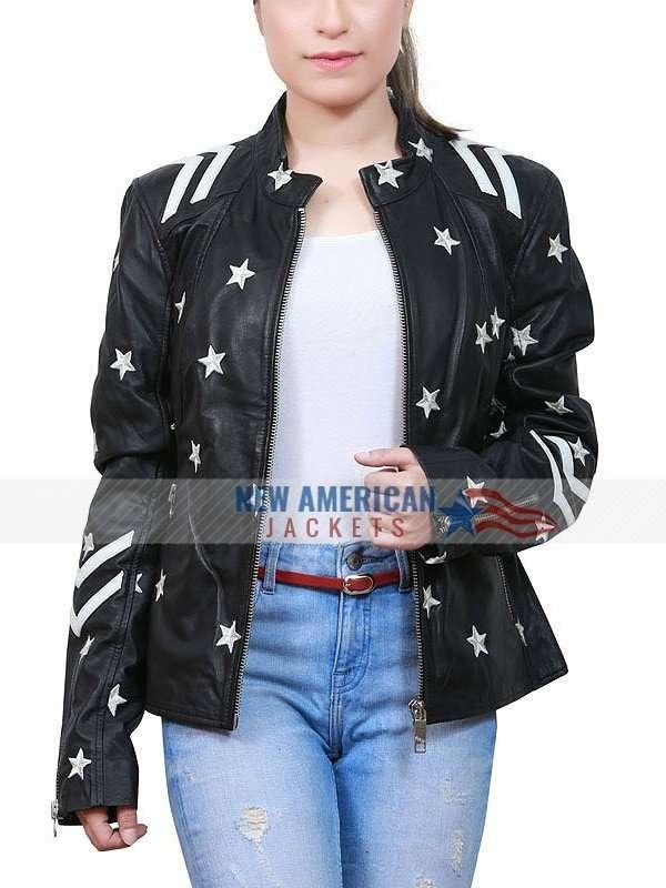 white stars black leather jacket