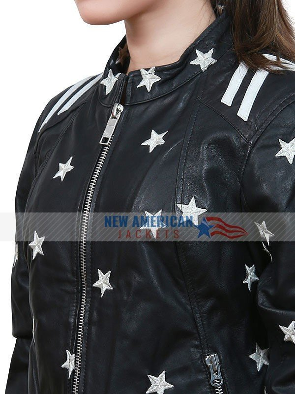 womens black leather jacket with white stars