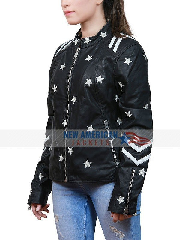 womens leather jacket embroidered stars